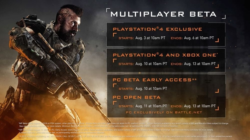 Call of Duty: Black Ops 4 Multiplayer and Blackout beta dates announced