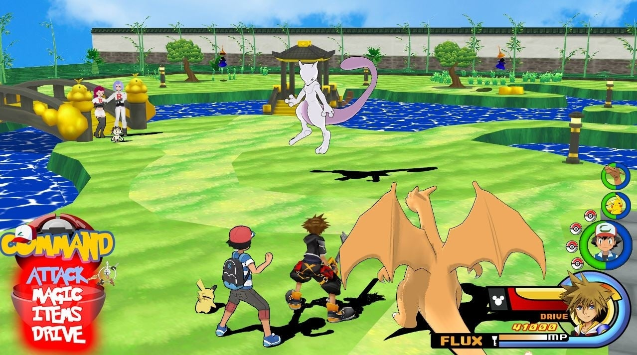 kingdom hearts collides with pokemon with epic crossover fan art