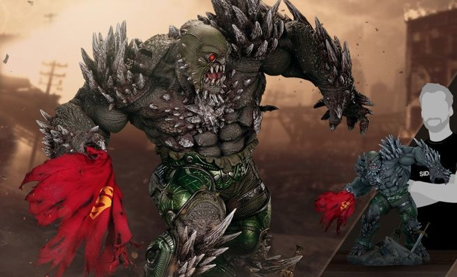 massive death of superman doomsday statue takes on the justice league