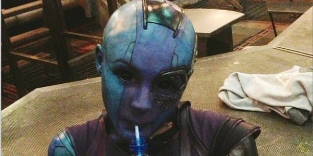 guardians of the galaxy karen gillan nebula behind thes cenes