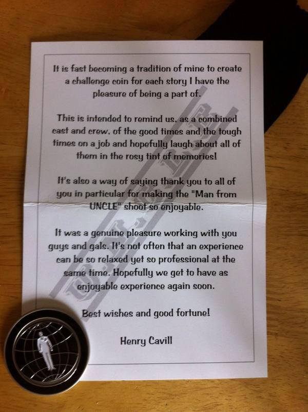 Henry Cavill Gives Man From U.N.C.L.E. Cast and Crew Challenge Coins As Production Wraps
