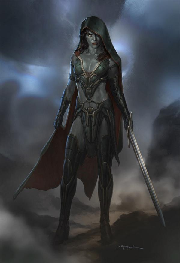 An early concept image of gamora from guardians of the galaxy has