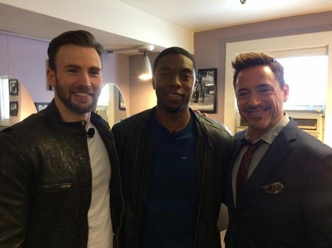 Chris Evans, Chadwick Boseman, and Robert Downey Jr showed up to Marvel's big announcement, Boseman will play Black Panther in Captain America: Civil War and a standalone movie in 2017.