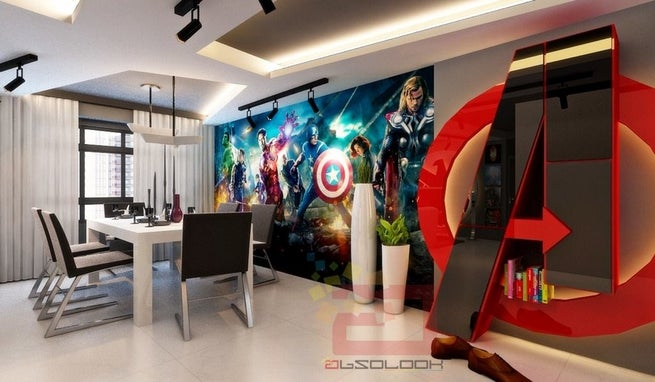Avengers themed apartment by interior design company for Interior decoration company