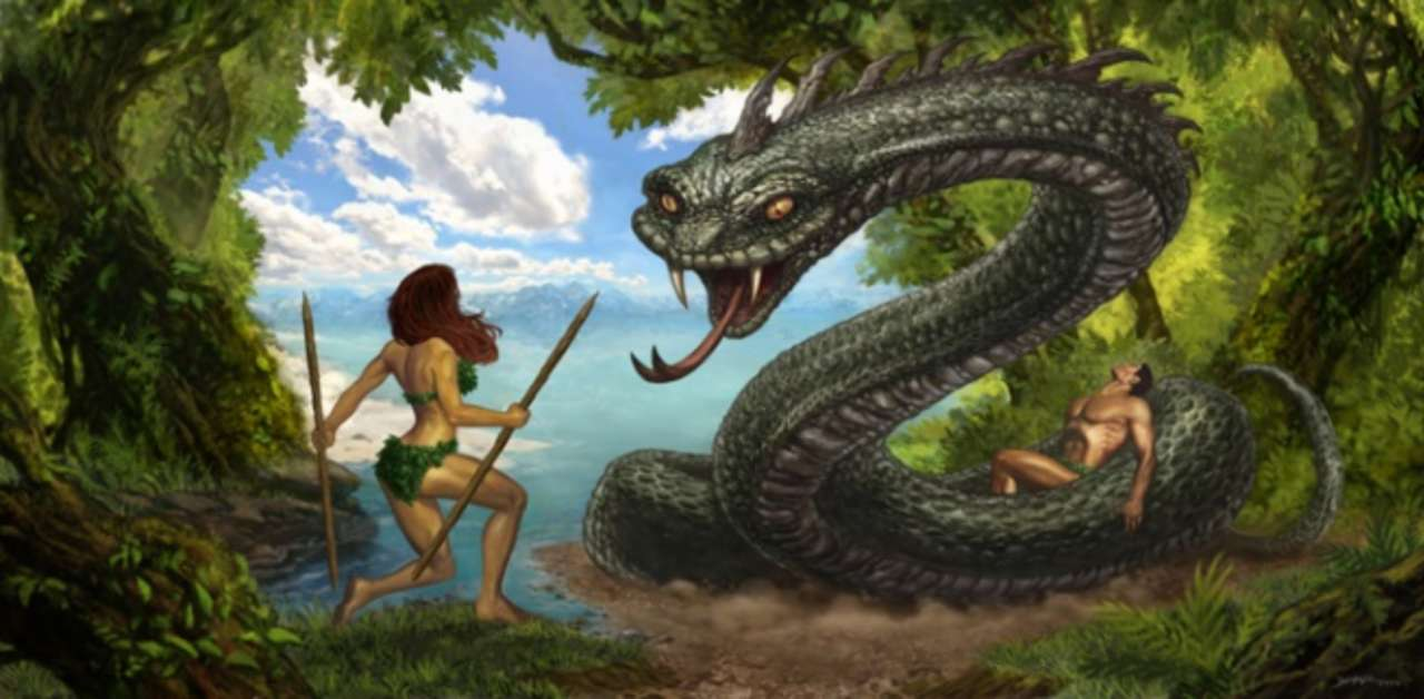 Eve And The Serpent In The Garden Of Eden