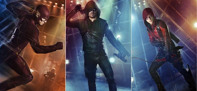 arrow and the flash superhero fight club posters released