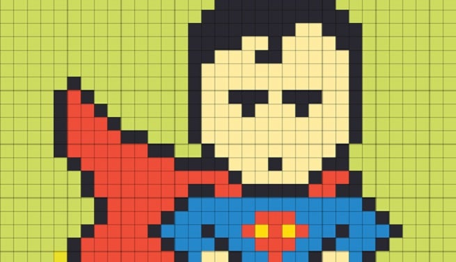 office workers create superhero art with post it notes. Black Bedroom Furniture Sets. Home Design Ideas