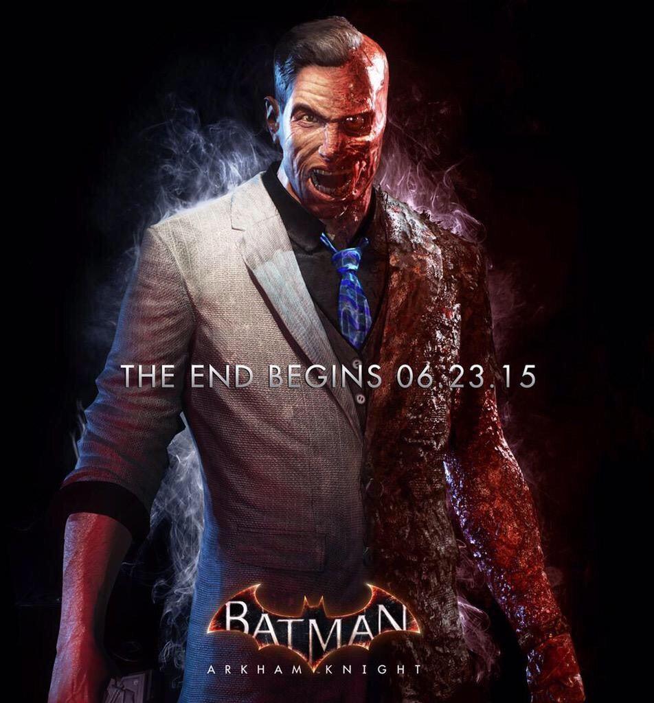 new batman arkham knight poster features twoface