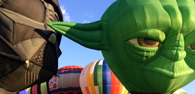 Darth Vader & Yoda Hot Air Balloons Take To The Skies