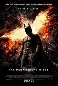 Poster for The Dark Knight Rises featuring Christian Bale as Batman.