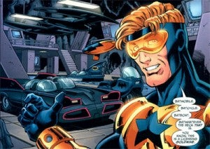 Booster Gold and the Batmobile