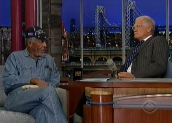 David Letterman and Morgan Freeman