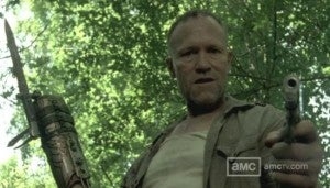 Merle with knife for a hand