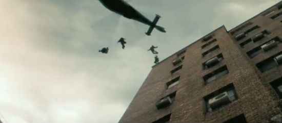 World War Z zombies leap for a helicopter
