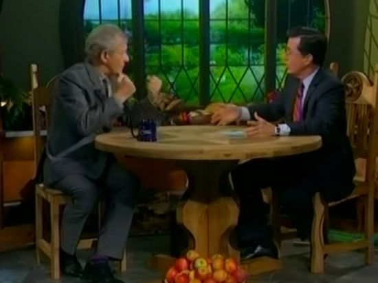 Ian McKellen and Stephen Colbert