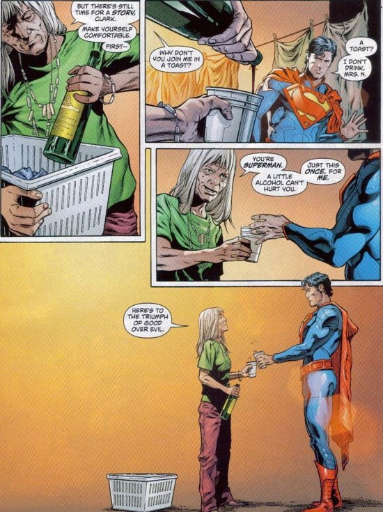 Superman drinking alcohol