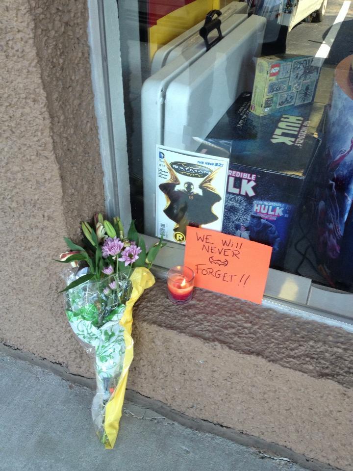 Impromptu Robin Memorial Set Up By Fans Outside Comic Shop