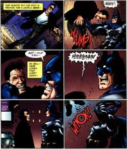 Hitman throws up on Batman.