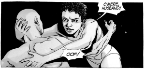 From THE WALKING DEAD #37, Maggie jumps Glenn right after their wedding.
