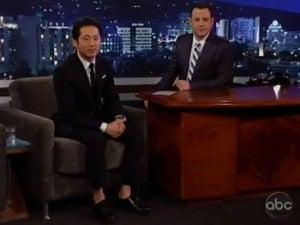 Steven Yeun and Jimmy Kimmel