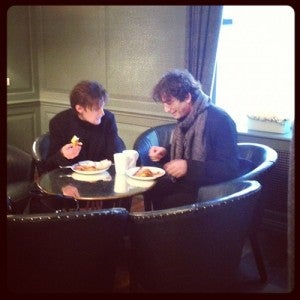 Matt Smith and Neil Gaiman having breakfast