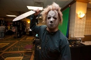 "Michael Myers from ""Halloween"" brandishes a knife."
