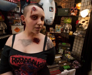Rachel from Philadelphia, Pa. models a zombie look.