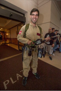 Chris from Philadelphia, Pa. shows off his Ghostbusters proton accelerator.