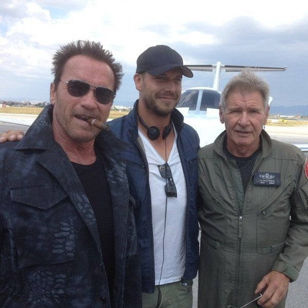 Harrison Ford and Arnold Schwarzenegger Pose For Expendables 3 Set Photo