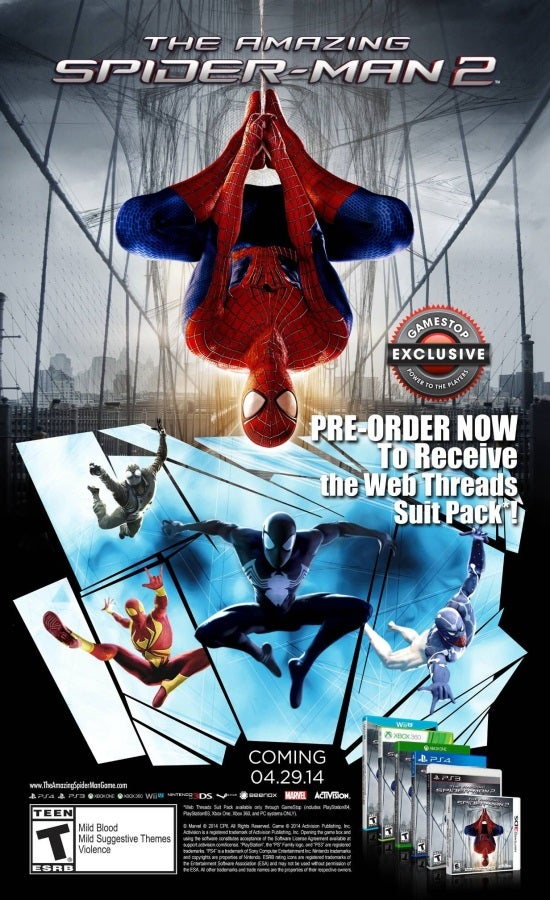 Amazing Spider-Man 2 Video Game Pre-Order Bonuses