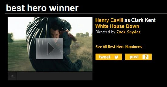 Man Of Steel's Henry Cavill Wins Best Hero MTV Movie Award For White House Down?