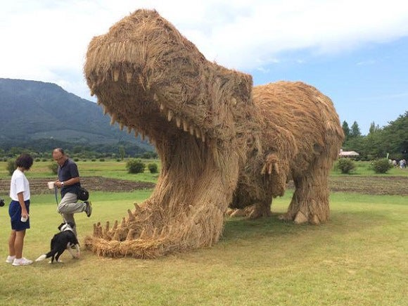 Check Out These Giant Dinosaurs Made Out Of Straw