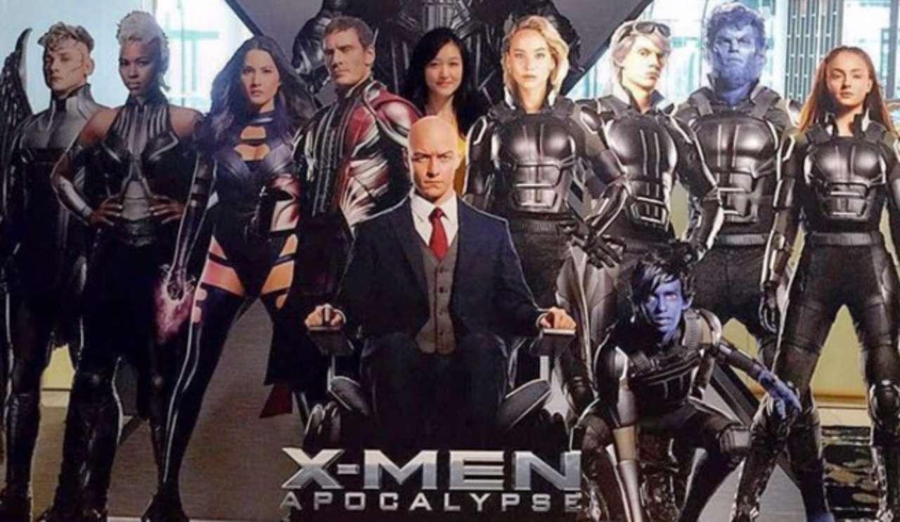 x men apocalypse cast featured in theater standee