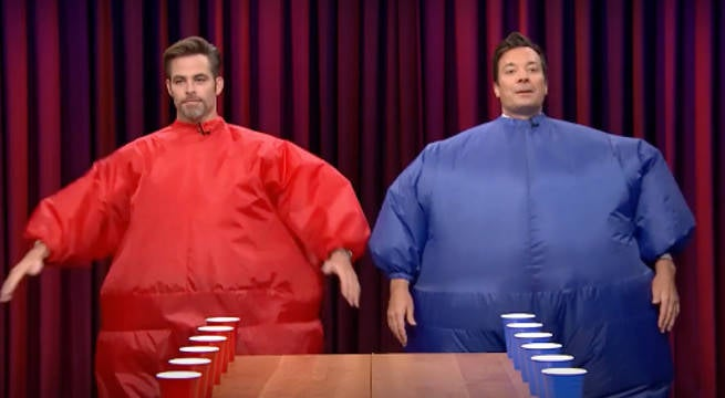 WATCH: Chris Pine and Jimmy Fallon Play Inflatable Flip Cup