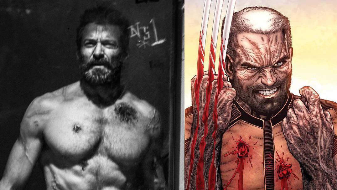 Logan Movie Hugh Jackman as Old Man Logan Side by Side Comparison