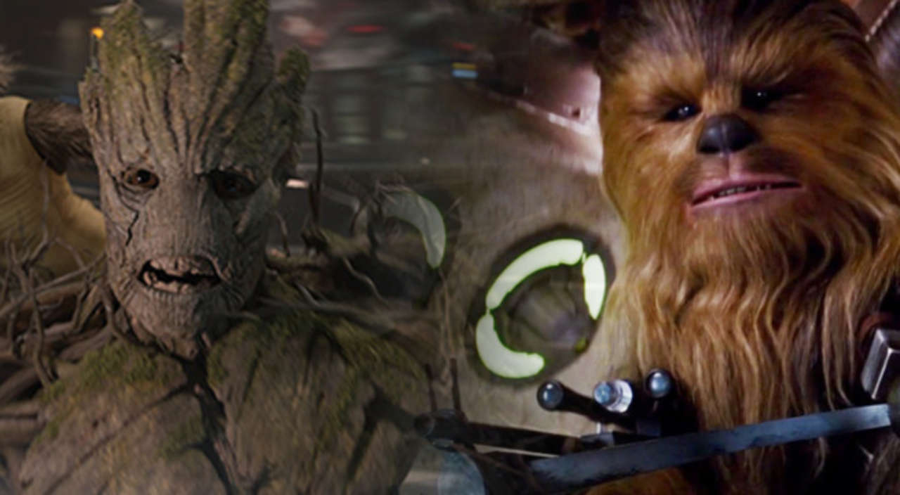 guardians of the galaxy cast crowns groot vs chewbacca winner