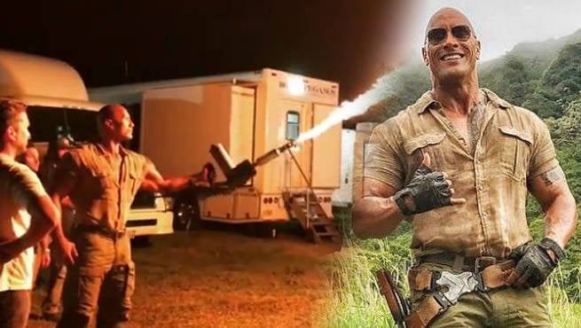 The Rock Shows Off His Flamethrower On The Jumanji Set