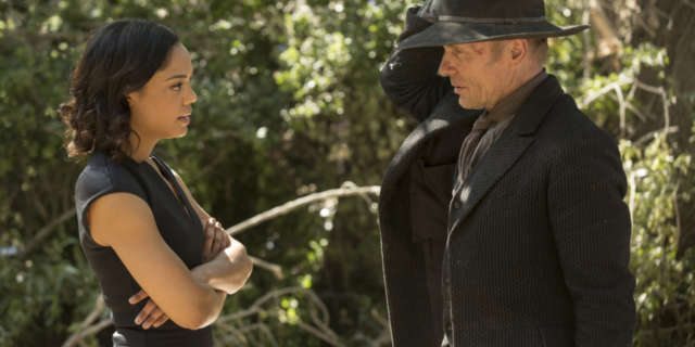Tessa Thompson as Charlotte and Ed Harris as Man in Black- credit John P Johnson HBO