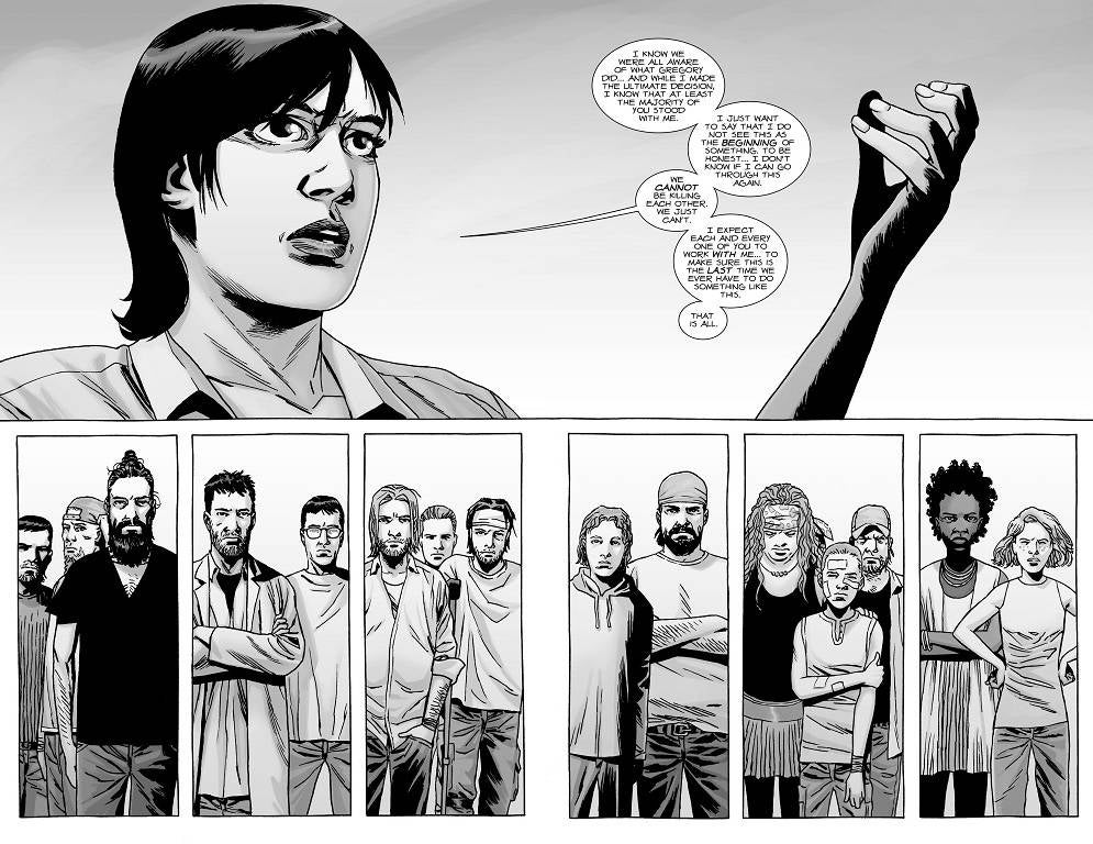the-walking-dead-142-maggie-addresses-the-hilltop-citizens-after-gregorys-execution