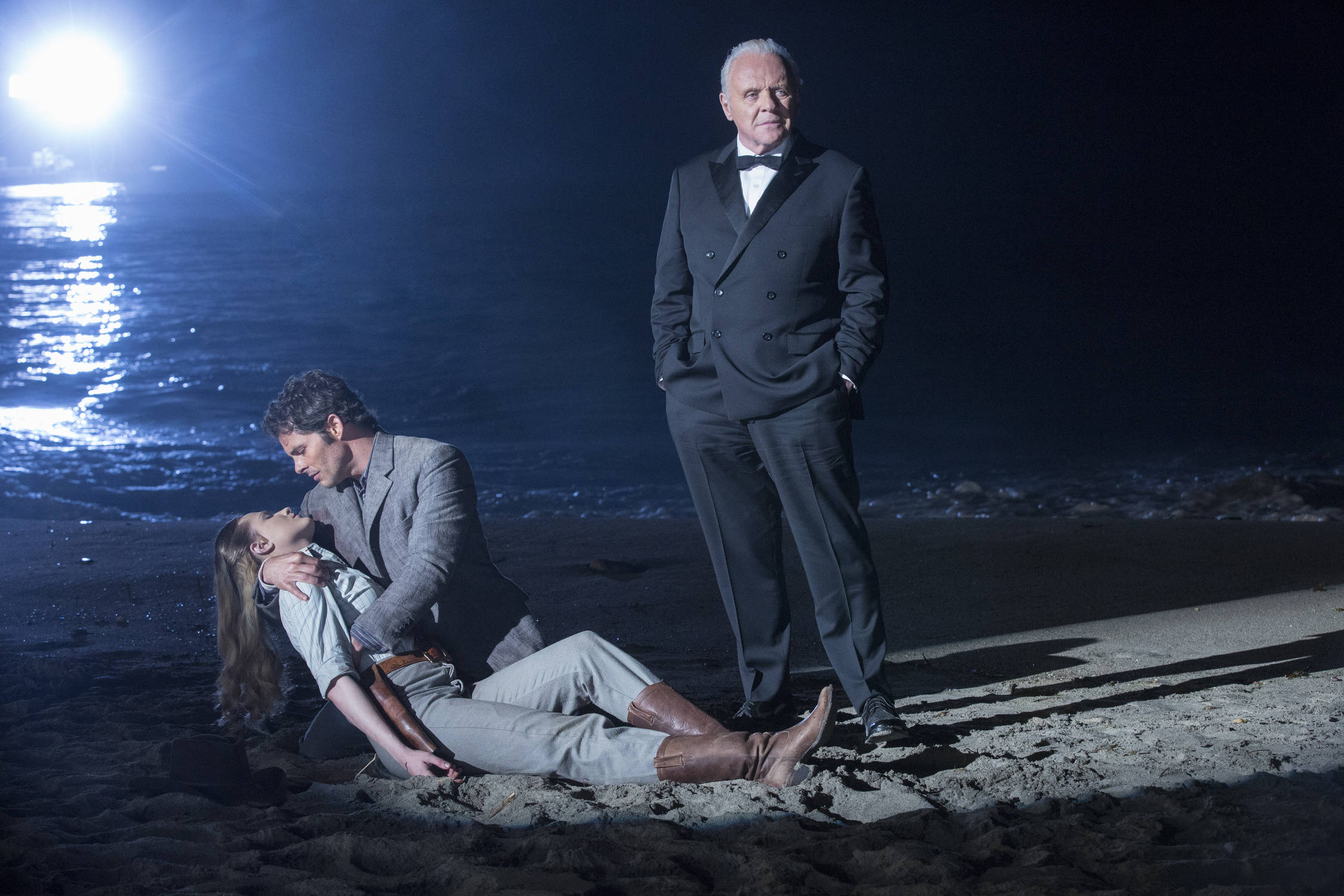 Evan Rachel Wood as Dolores, James Marsden as Teddy, Anthony Hopkins as