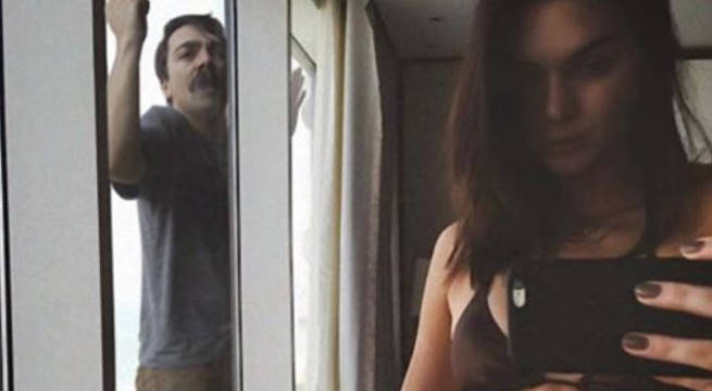 Kendall Jenner and Kirby photoshop outside window