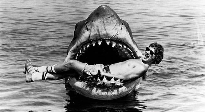 steven spielberg jaws mouth pose