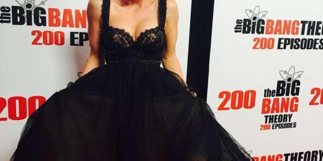 kaley cuoco big bang theory penny black dress