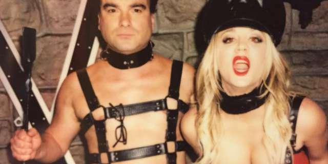 kaley cuoco big bang theory penny bondage leather corset