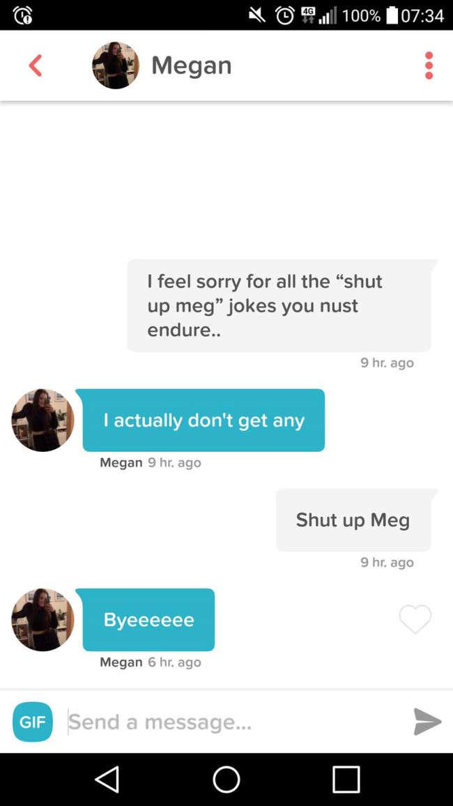 Girl Named Megan Gets Roasted On Tinder With Epic Family Guy Joke