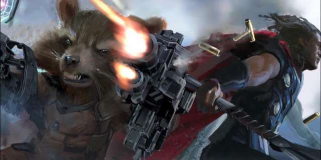 Rocket Raccoon and Thor Ulitmate Mjolnir in Avengers Ininfity War