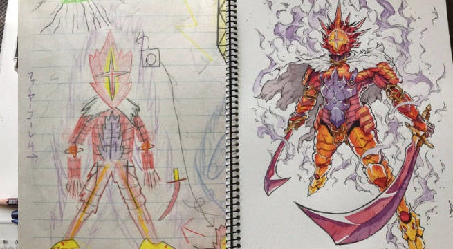 Anime Creator Redraws Sons' Artwork To Make Awesome Original Characters