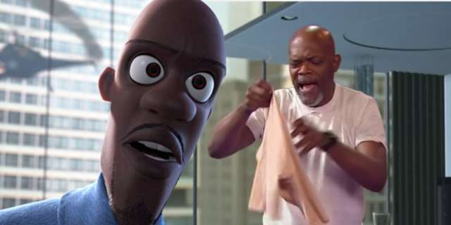 samuel l jackson acts out frozone scene from the incredibles