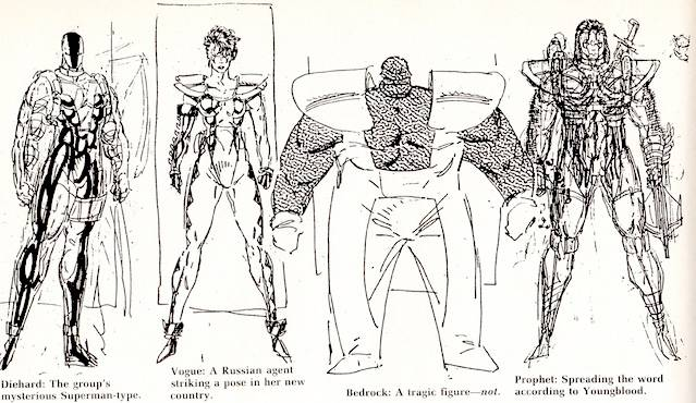 Rob Liefeld Youngblood pencil designs