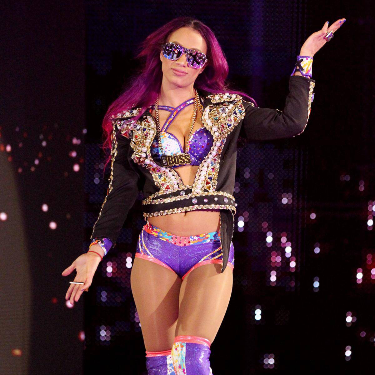 WWE-Sasha-Banks-Fastlane-2017-Purple-Sparkle-Jacket